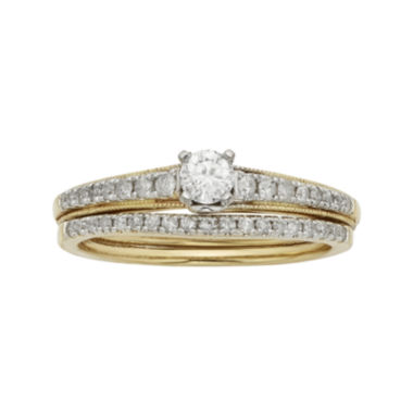 jcpenney.com | 1/2 CT. T.W.  Diamond 10K Yellow Gold Bridal Ring Set