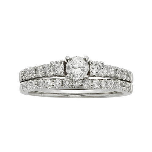 1 CT. T.W. Certified Diamond 14K White Gold Bridal Set
