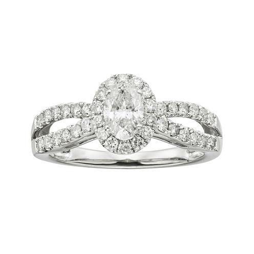 1 CT. T.W. Diamond 14K White Gold Engagement Ring