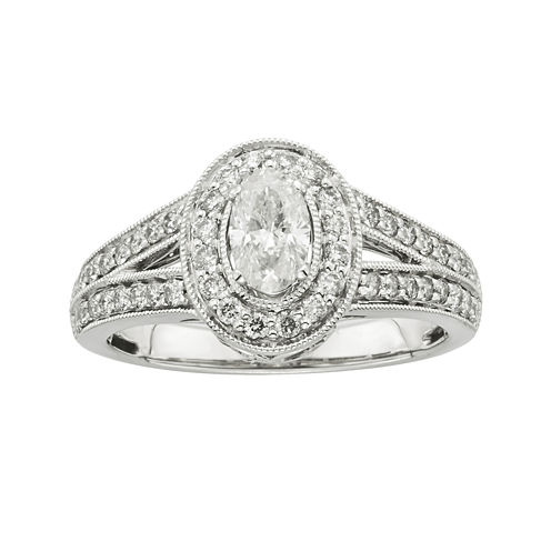 Certified Diamonds 1 CT. T.W. Diamond 14K White Gold Oval Engagement Ring