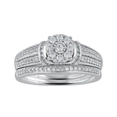 jcpenney.com | Cherished Hearts™ 1/2 CT. T.W. Diamond 14K White Gold Bridal Ring Set