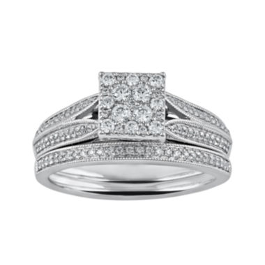 jcpenney.com | Cherished Hearts™ 1/2 CT. T.W. Diamond 14K White Gold Ring Set