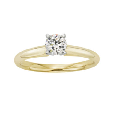 jcpenney.com | 1/2 CT. Certified Diamond 18K Yellow Gold Solitaire Ring
