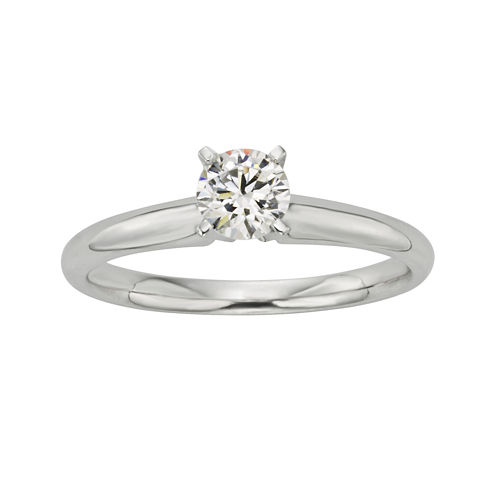 1/2 CT.  Certified Diamond 18K White Gold Solitaire Ring