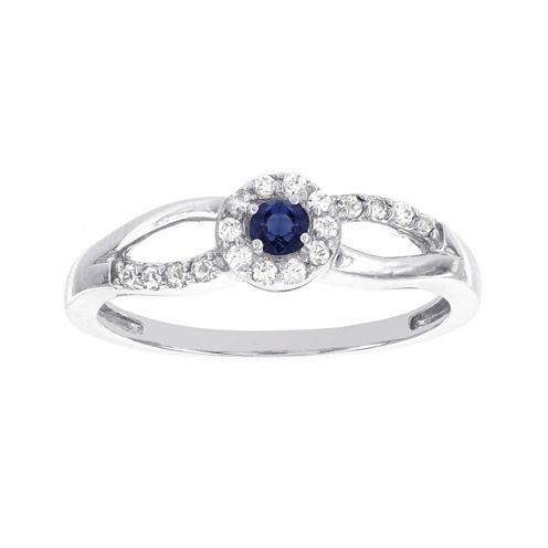 Lumastar Genuine Sapphire and Diamond-Accent 10K White Gold Promise Ring