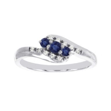 jcpenney.com | Lumastar Genuine Sapphire and Diamond-Accent 10K White Gold Promise Ring