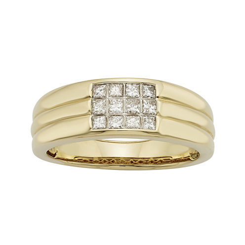 Mens 1/2 CT. T.W. Certified Diamonds 14K Yellow Gold Ring
