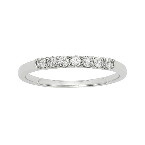 1/4 CT. T.W. Certified Diamonds 14K White Gold Wedding Band Ring