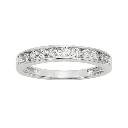 1/2 CT. T.W. Certified Diamond 14K White Gold Wedding Band Ring