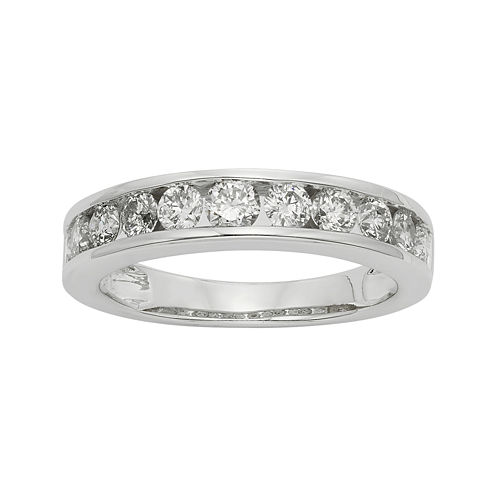 1 CT. T.W. Certified Diamonds 14K White Gold Wedding Band Ring