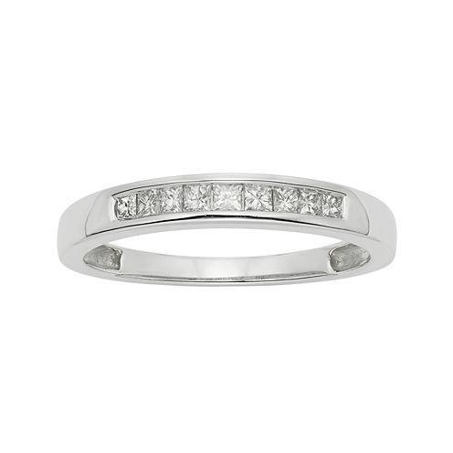 1/4 CT. T.W. Certified Diamond 14K White Gold Wedding Band Ring