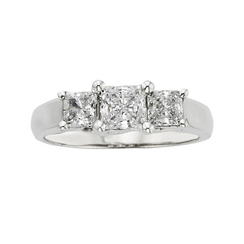 1 CT. T.W. Certified Diamonds 18K White Gold 3-Stone Ring