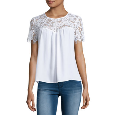 jcpenney.com | Decree Short Sleeve Round Neck Blouse-Juniors