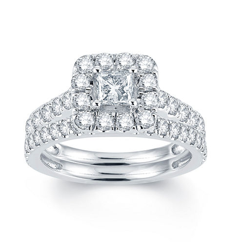 Modern Bride Signature Womens 2 CT. T.W. White Diamond 14K Gold Bridal Set