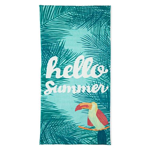 "Outdoor Oasis Hello Summer 30""x60"" Printed Beach Towel"