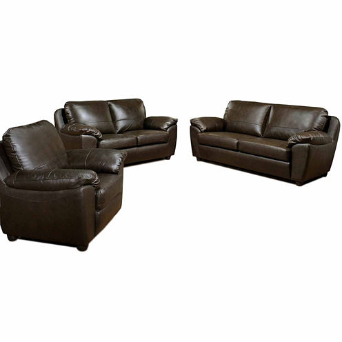 Aria Leather Sofa + Loveseat Set