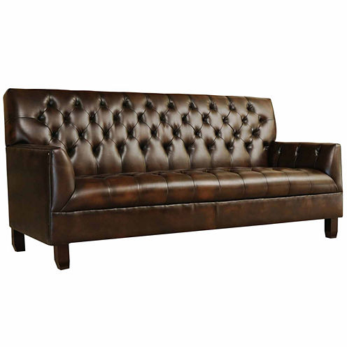 Allison Faux Leather Sharkfin-Arm Sofa