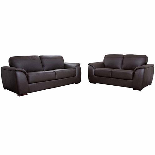 Chloe Leather Sofa + Loveseat Set