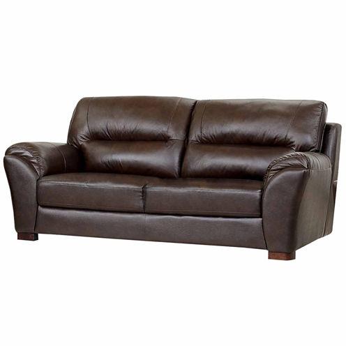 Eliana Leather Pad-Arm Sofa