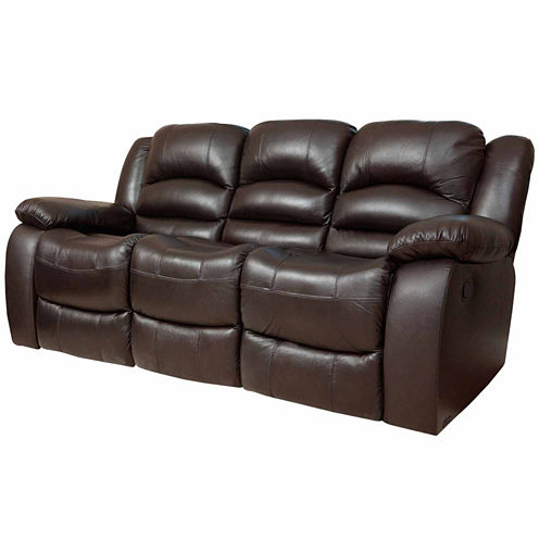 Emma Leather Pad-Arm Reclining Sofa