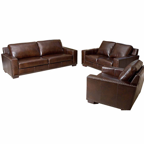 Ellie leather sofa loveseat set jcpenney for Jcpenney leather sectional sofa