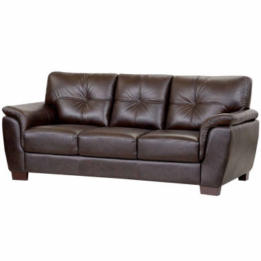 jcpenney.com | Victoria Leather Pad-Arm Sofa