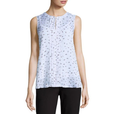 jcpenney.com | Liz Claiborne Sleeveless Crew Neck Woven Blouse