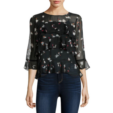 jcpenney.com | Belle + Sky Long Sleeve Tiered Top