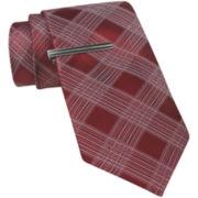 JF J. Ferrar® Thin Plaid Tie and Tie Bar Set