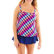 Arizona Blouson Tankini Swim Top or Solid Skirted Bottoms - Plus