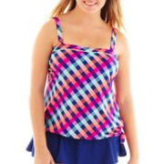 Arizona Check Print Bandeau Blouson Tankini Swim Top - Plus