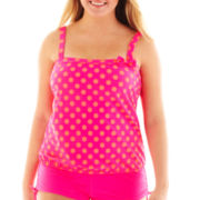 Arizona Polka Dot Bandeau Blouson Tankini Swim Top - Plus - Juniors