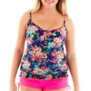 Arizona Floral Print Blouson Tankini Swim Top - Juniors Plus