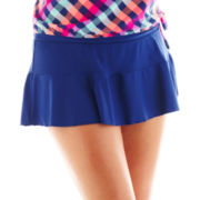 Arizona Solid Flirt Retro Skirted Swim Bottoms - Plus