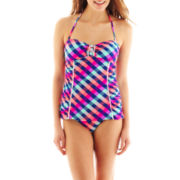 Arizona Check Print Shirred-Side Bandeau 1-Piece Swimdress