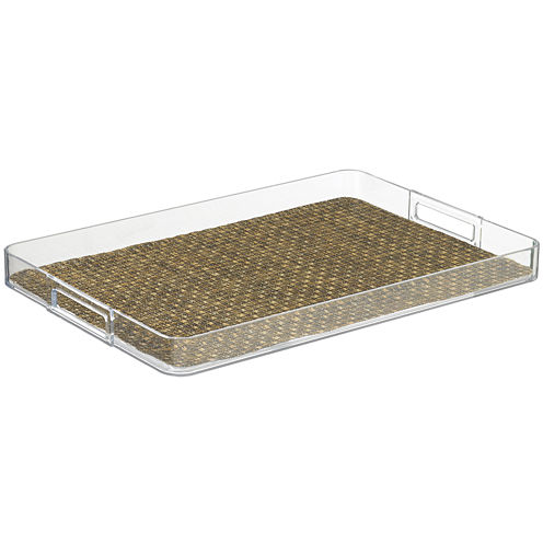 "Kraftware Woven 14x20"" Rectangular Lucite Tray"