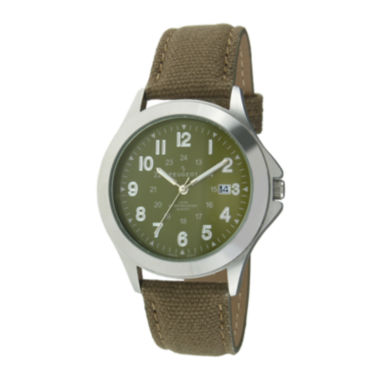 jcpenney.com | Peugeot® Mens Green Canvas Strap Military Watch