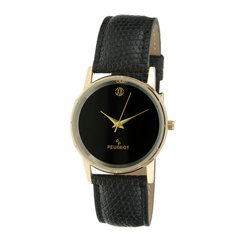 Peugeot® Mens Black Leather Strap Watch