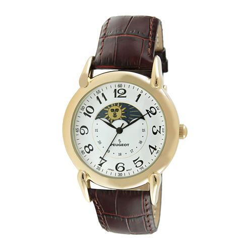 Peugeot® Mens Brown Leather Strap Moon Phase Watch