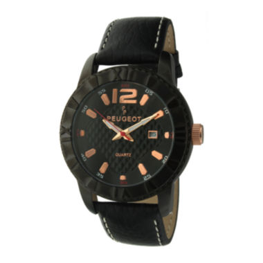 jcpenney.com | Peugeot® Mens Black Leather Strap Watch