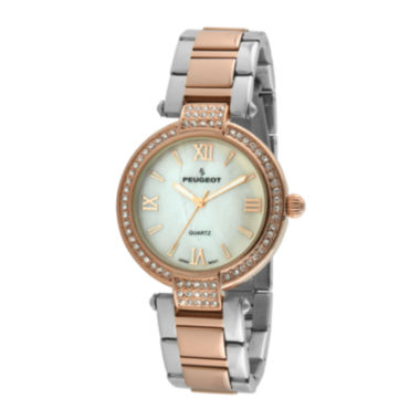jcpenney.com | Peugeot® Womens Crystal-Accent Rose-Tone Bezel Two-Tone T-Bar Bracelet Watch