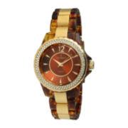 Peugeot® Womens Crystal-Accent Tortoise Shell-Look Bracelet Watch