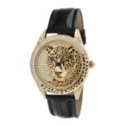 Peugeot® Womens Crystal-Accent Leopard Dial Black Leather Strap Watch