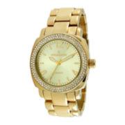 Peugeot® Womens Crystal-Accent Gold-Tone Boyfriend Bracelet Watch