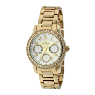 jcpenney.com | Peugeot® Womens Crystal-Accent Gold-Tone Bracelet Watch