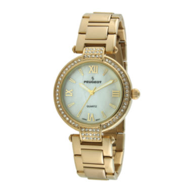 jcpenney.com | Peugeot® Womens Crystal-Accent Gold-Tone Bezel Gold-Tone T-Bar Bracelet Watch