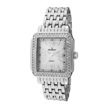 jcpenney.com | Peugeot® Womens Crystal-Accent Silver-Tone Panther-Link Bracelet Watch