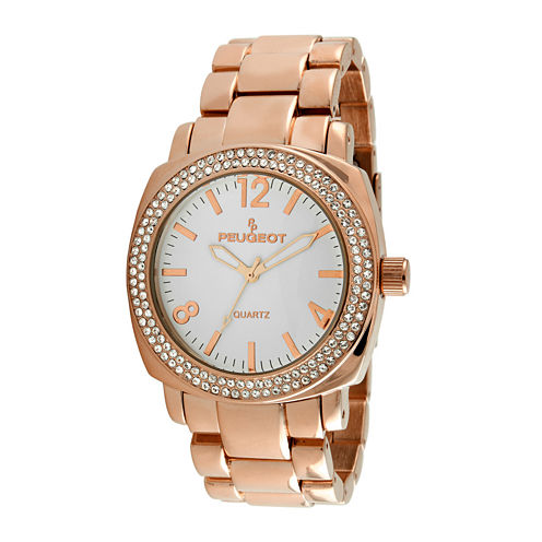 Peugeot® Womens Crystal-Accent Rose-Tone Boyfriend Bracelet Watch