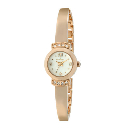 Peugeot® Womens Crystal-Accent Rose-Tone Petite Half-Bangle Watch