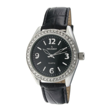 jcpenney.com | Peugeot® Womens Crystal-Accent Black Leather Strap Watch